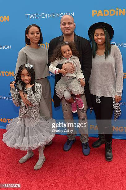 Singer Melanie Brown and Stephen Belafonte arrive with their family on the red carpet for the premiere of TWCDimension's 'Paddington' at TCL Chinese...