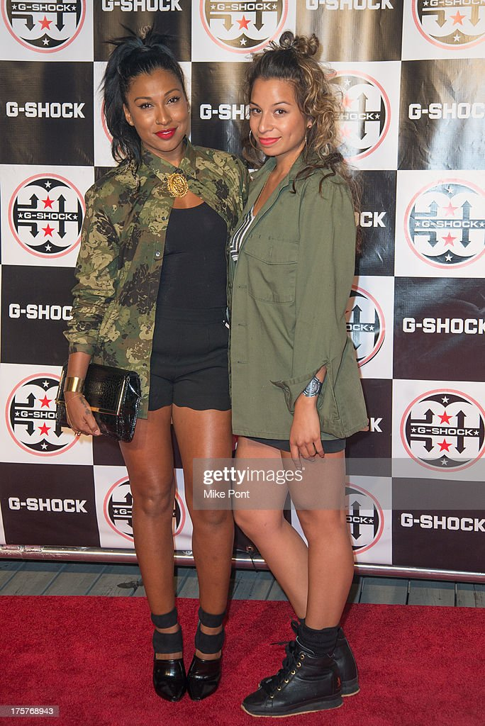 Singer Melanie Fiona and Jasmine Solano attend G-Shock - Shock The World 2013 at Basketball City - Pier 36 - South Street on August 7, 2013 in New York City.
