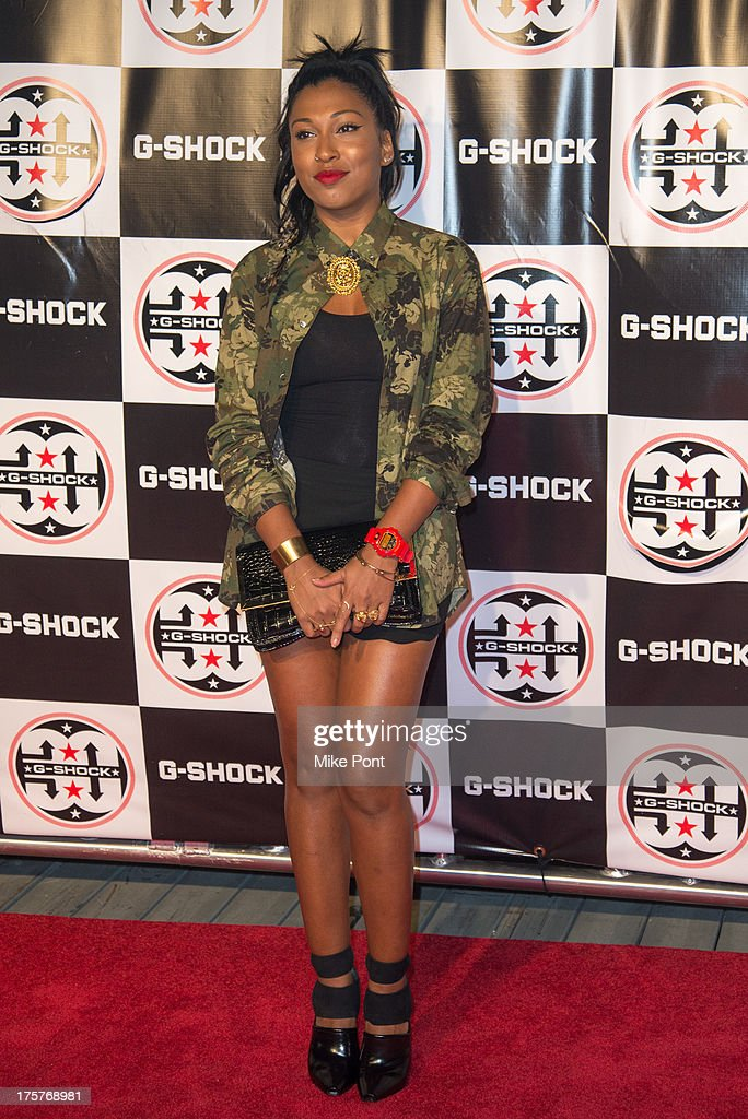 Singer Melanie Fiona attends G-Shock - Shock The World 2013 at Basketball City - Pier 36 - South Street on August 7, 2013 in New York City.
