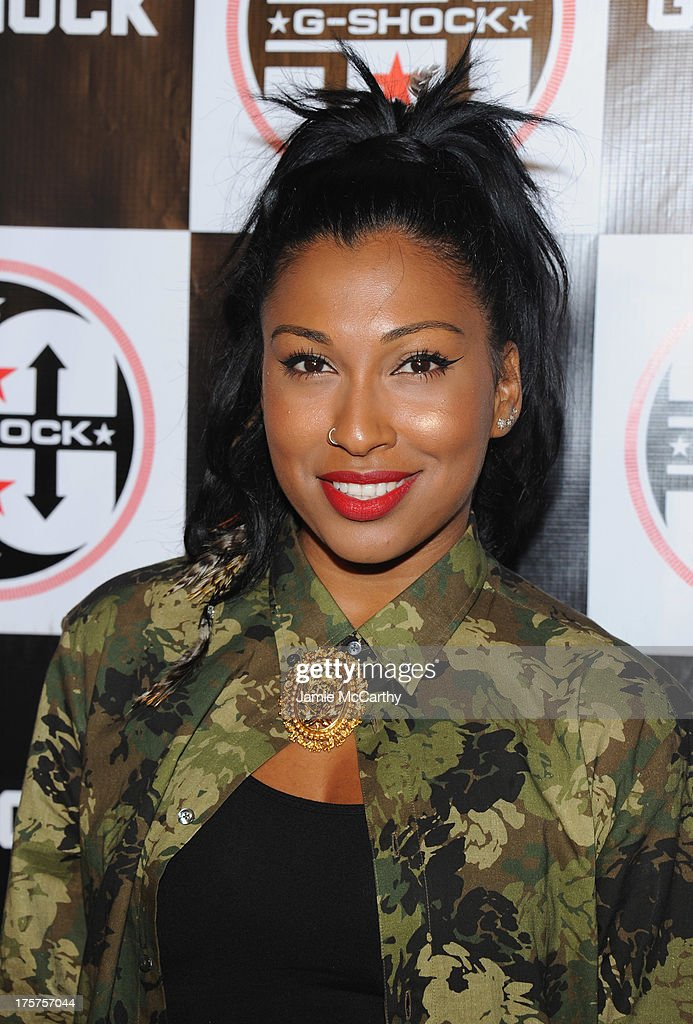 Singer <a gi-track='captionPersonalityLinkClicked' href=/galleries/search?phrase=Melanie+Fiona&family=editorial&specificpeople=5543211 ng-click='$event.stopPropagation()'>Melanie Fiona</a> attends G-Shock Shock The World 2013 at Basketball City on August 7, 2013 in New York City.