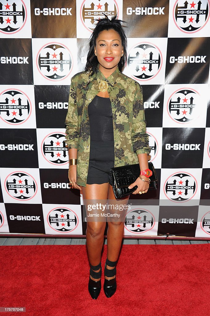 Singer Melanie Fiona attends GShock Shock The World 2013 at Basketball City on August 7 2013 in New York City