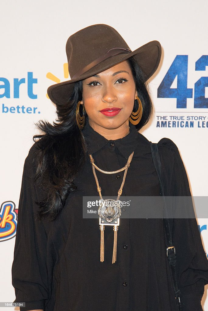 Singer Melanie Fiona attends the '42' event honoring the legacy of Jackie Robinson at the Brooklyn Academy of Music on March 25, 2013 in New York City.