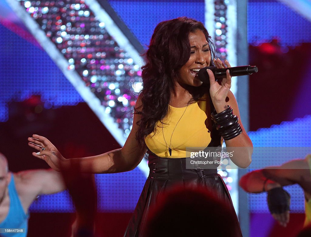 Singer Melanie Fiona performs onstage during 'VH1 Divas' 2012 at The Shrine Auditorium on December 16 2012 in Los Angeles California