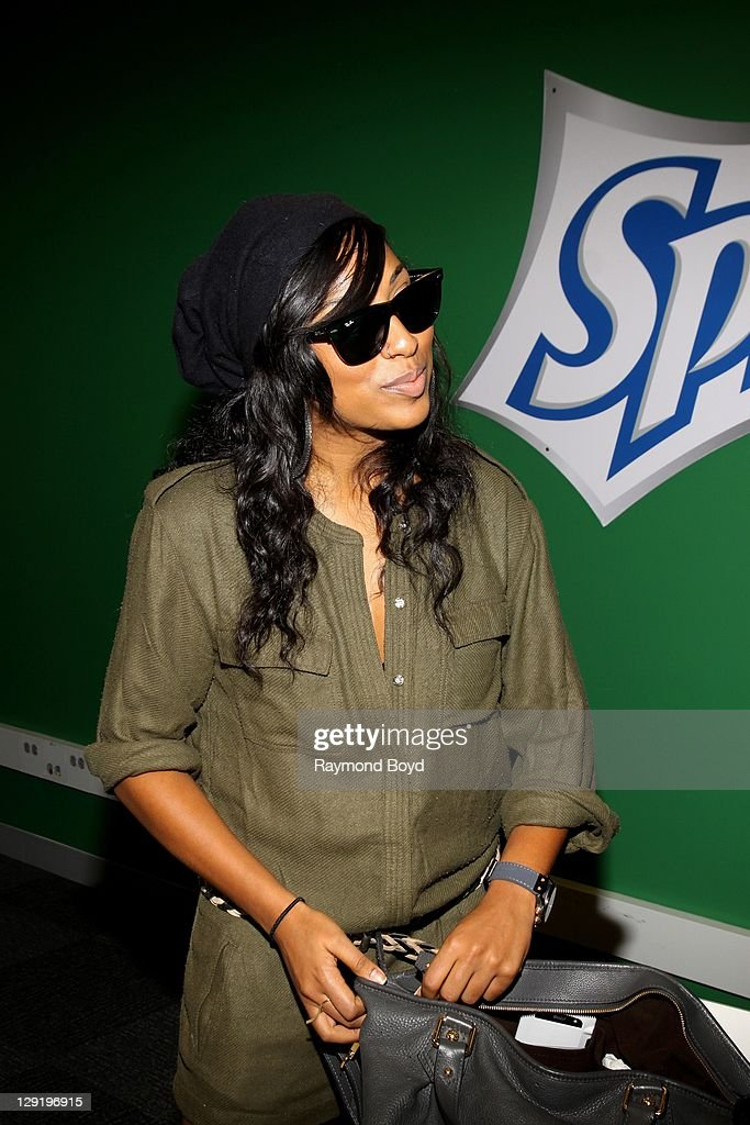 Singer Melanie Fiona poses for photos during her visit to the WGCIFM 'CocaCola Lounge' in Chicago Illinois on OCTOBER 10 2011