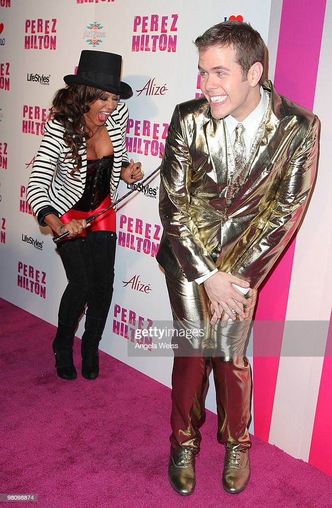 Singer Melanie 'Mel B' Brown and Perez Hilton attend Perez Hilton's 'CarnEvil' 32nd birthday party at Paramount Studios on March 27 2010 in Los...