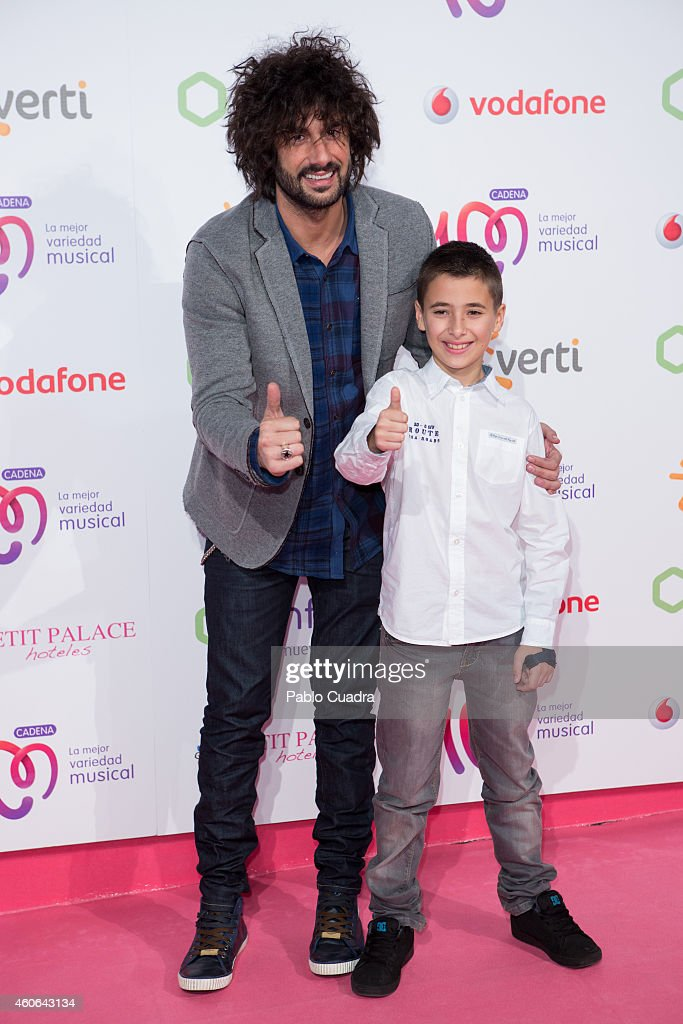Singer Melendi and Luis Miguel Garcia Canete attend 'Pie Derecho' awards Gala at Callao cinema on December 18 2014 in Madrid Spain