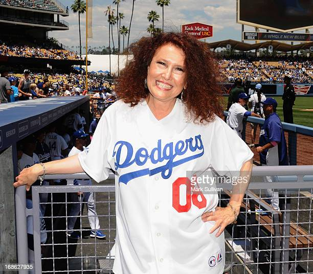 Singer Melissa Manchester poses after singing the national anthem before the MLB game against the Miami Marlins on Mother's Day at Dodger Stadium on...