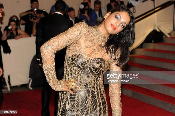 Singer MIA attends the Costume Institute Gala Benefit to celebrate the opening of the 'American Woman Fashioning a National Identity' exhibition at...