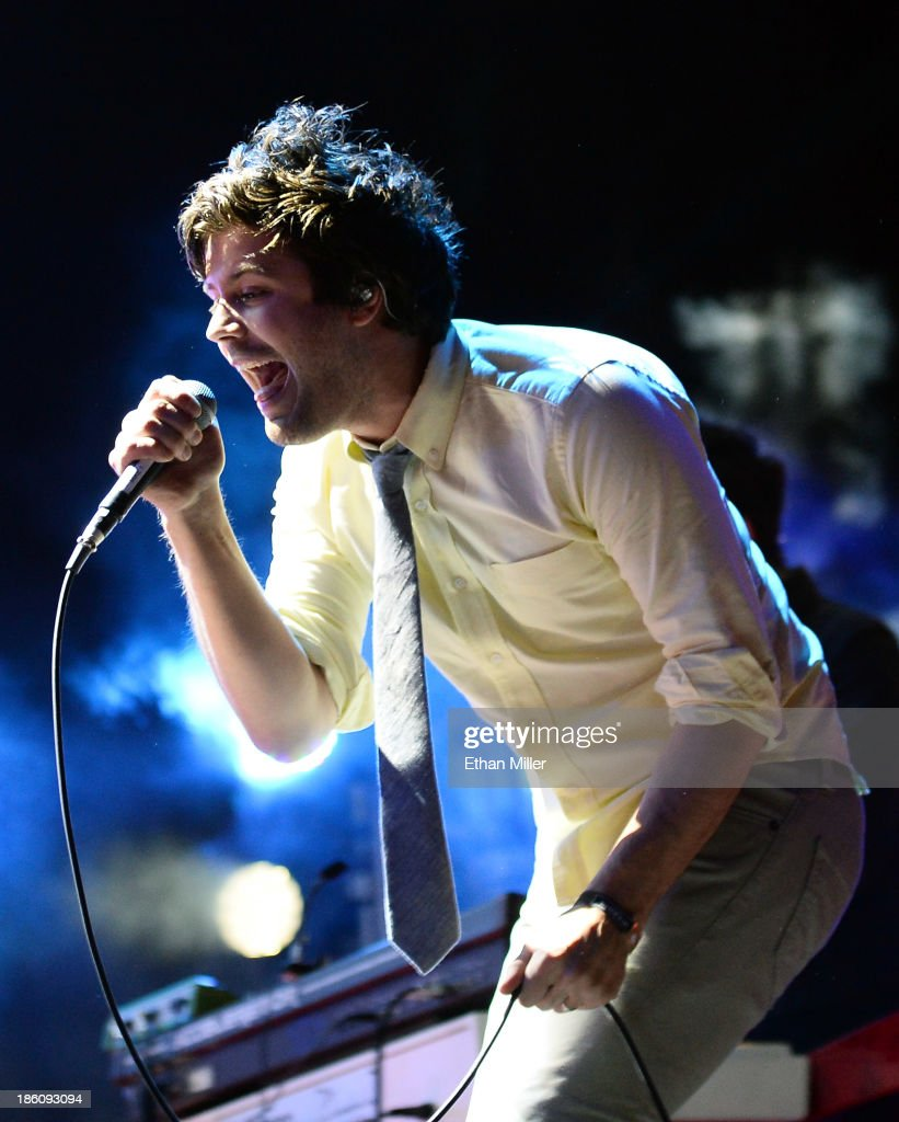Singer Michael Angelakos of Passion Pit performs during the Life is Beautiful festival on October 27, 2013 in Las Vegas, Nevada.