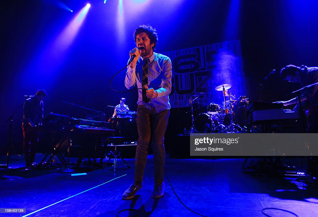 Singer Michael Angelakos of Passion Pit performs during the Night the Buzz Stole Christmas at The Midland by AMC on December 16, 2012 in Kansas City, Missouri.