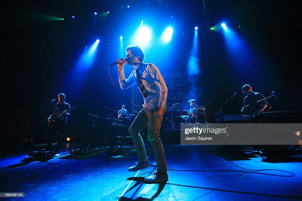 Singer <a gi-track='captionPersonalityLinkClicked' href=/galleries/search?phrase=Michael+Angelakos&family=editorial&specificpeople=5735300 ng-click='$event.stopPropagation()'>Michael Angelakos</a> of Passion Pit performs during the Night the Buzz Stole Christmas at The Midland by AMC on December 16, 2012 in Kansas City, Missouri.