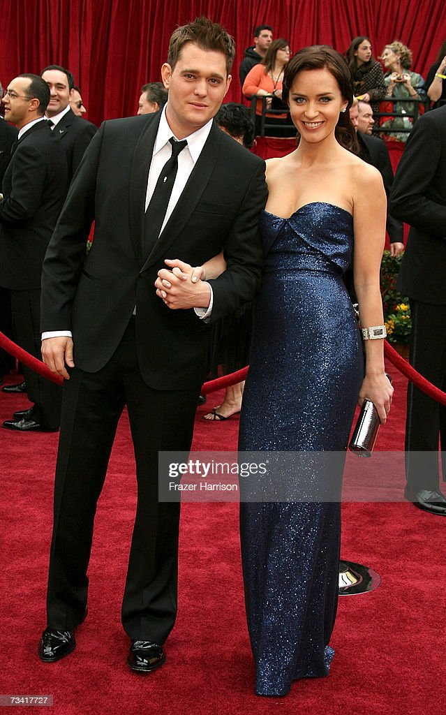 Singer Michael Buble and actress <a gi-track='captionPersonalityLinkClicked' href=/galleries/search?phrase=Emily+Blunt&family=editorial&specificpeople=213480 ng-click='$event.stopPropagation()'>Emily Blunt</a> attend the 79th Annual Academy Awards held at the Kodak Theatre on February 25, 2007 in Hollywood, California.