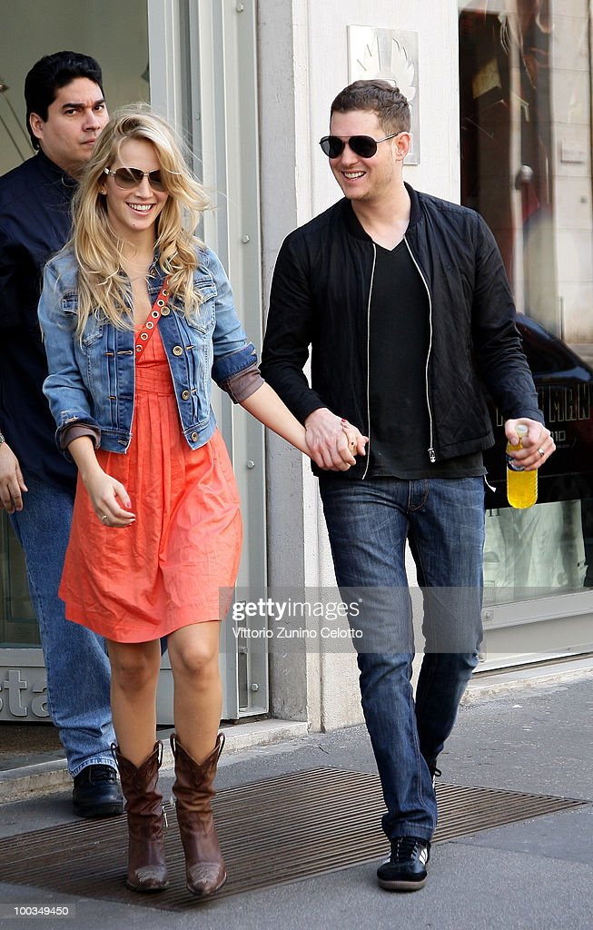 COVERAGE** Singer Michael Buble (R) and girlfriend Luisana Lopilato (C) are seen on May 23, 2010 in Milan, Italy.