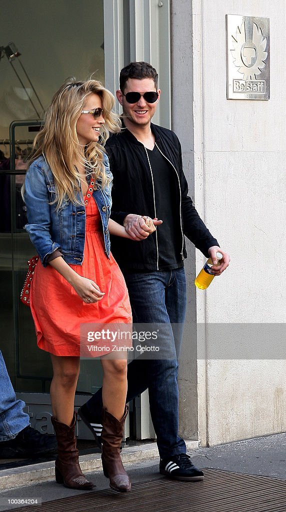 COVERAGE** Singer Michael Buble (R) and girlfriend Luisana Lopilato are seen on May 23, 2010 in Milan, Italy.
