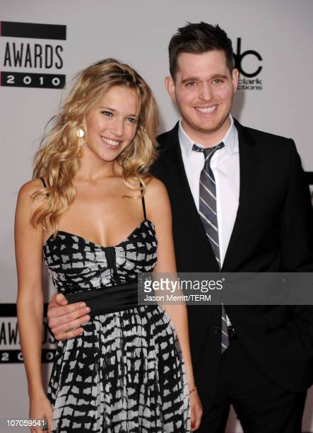 Singer Michael Buble and model Luisana Loreley Lopilato de la Torre arrive at the 2010 American Music Awards held at Nokia Theatre LA Live on...