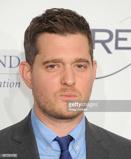 Singer Michael Buble arrives at the 20th Annual Fulfillment Fund Stars Benefit Gala at The Beverly Hilton Hotel on October 14 2014 in Beverly Hills...