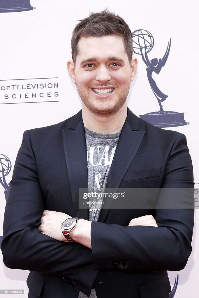 Singer <a gi-track='captionPersonalityLinkClicked' href=/galleries/search?phrase=Michael+Buble&family=editorial&specificpeople=215140 ng-click='$event.stopPropagation()'>Michael Buble</a> attends The Academy Of Television Arts & Sciences Presents An Evening With <a gi-track='captionPersonalityLinkClicked' href=/galleries/search?phrase=Michael+Buble&family=editorial&specificpeople=215140 ng-click='$event.stopPropagation()'>Michael Buble</a> at Wadsworth Theater on April 28, 2013 in Los Angeles, California.