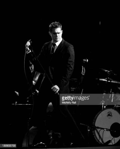 Singer Michael Buble performs at Kirstenbosch Gardens on December 10 2007 in Cape Town South Africa