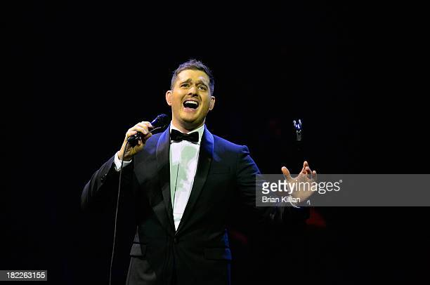 Singer Michael Buble performs at Prudential Center on September 28 2013 in Newark New Jersey