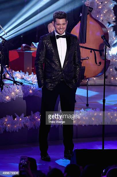Singer Michael Buble performs onstage during the 83rd Rockefeller Center Tree Lighting on December 2 2015 in New York City