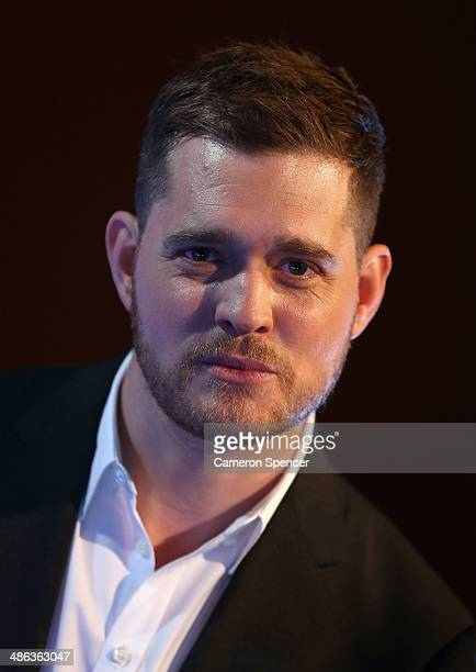 Singer Michael Buble poses during a press conference on April 24 2014 in Sydney Australia Buble is about to commence a 14 show national tour of...
