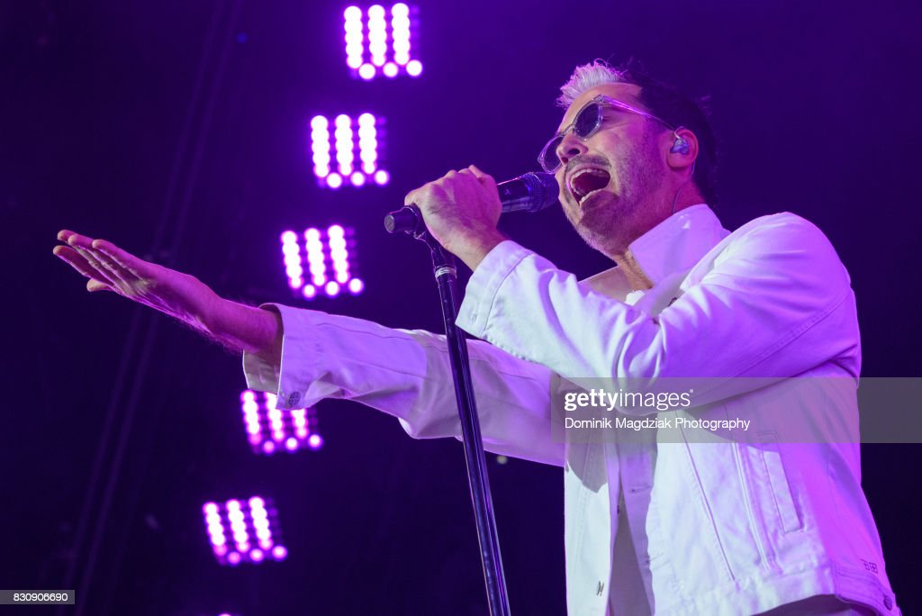 Singer Michael Fitzpatrick of Fitz and The Tantrums performs on stage during the '2017 Honda Civic Tour' at the Budweiser Stage on August 12, 2017 in Toronto, Canada.