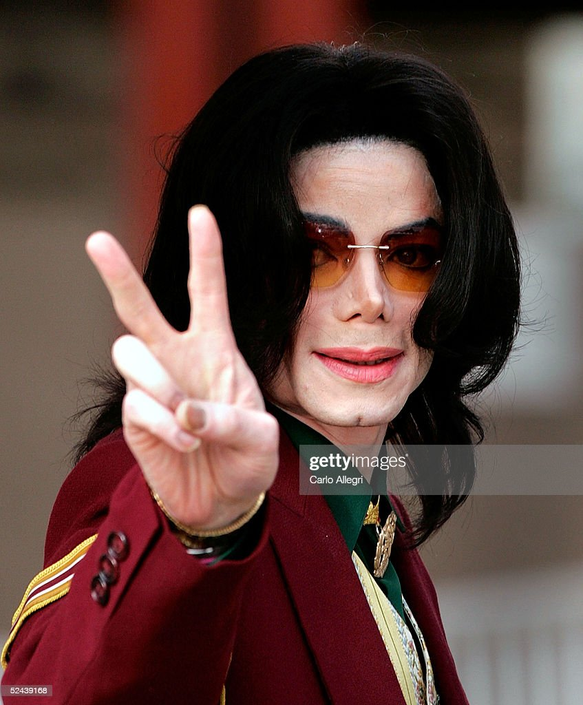 Singer <a gi-track='captionPersonalityLinkClicked' href=/galleries/search?phrase=Michael+Jackson&family=editorial&specificpeople=70011 ng-click='$event.stopPropagation()'>Michael Jackson</a> arrives at the Santa Maria Superior Court for testimony during the third week of his child molestation trial March 17, 2005 in Santa Maria, California. Jackson is charged in a 10-count indictment with molesting a boy, plying him with liquor and conspiring to commit child abduction, false imprisonment and extortion. He has pleaded innocent.