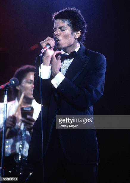 Singer Michael Jackson in concert during The Jacksons 'Triumph Tour' in September 1981 at The Forum in Los Angeles California
