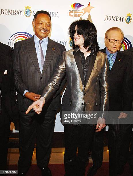 Singer Michael Jackson sings happy birthday to Founder and President of the Rainbow PUSH Coalition Reverend Jesse Jackson Sr as talk show host Larry...