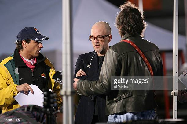 Singer Michael Stipe and REMrehearse before they perform on NBC's 'The Today Show' at Dean Deluca Plaza Rockerfeller Center New York City on April 1...