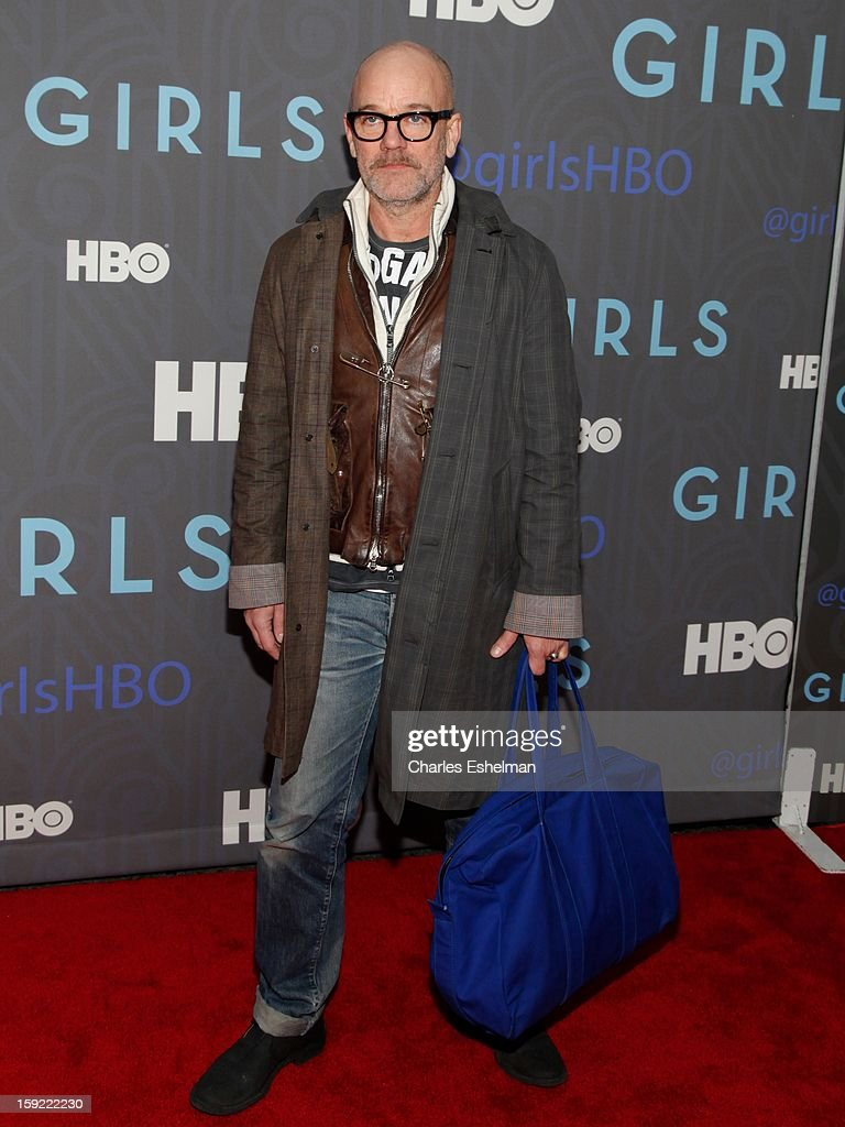 Singer Michael Stipe attends HBO hosts the premiere of 'Girls' Season 2 at the NYU Skirball Center on January 9, 2013 in New York City.