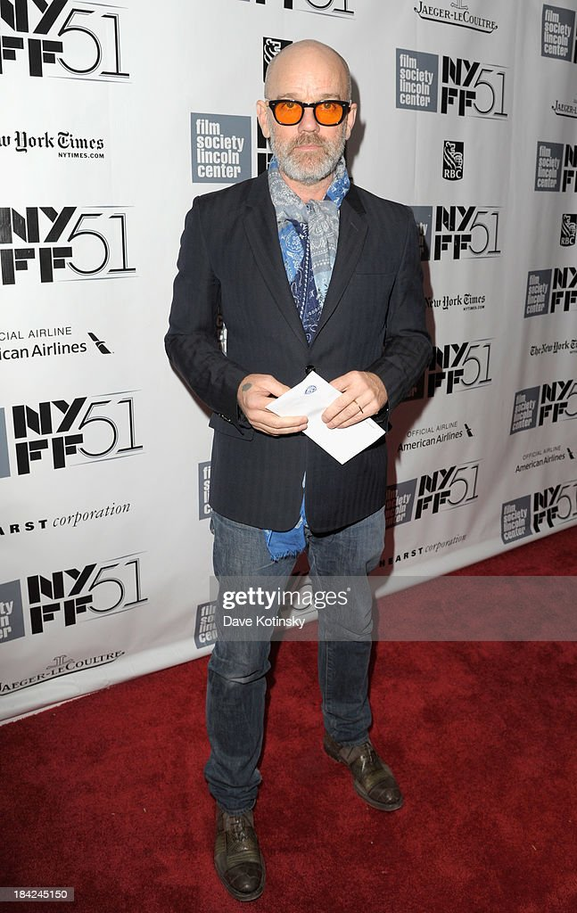 Singer <a gi-track='captionPersonalityLinkClicked' href=/galleries/search?phrase=Michael+Stipe&family=editorial&specificpeople=178318 ng-click='$event.stopPropagation()'>Michael Stipe</a> attends the Closing Night Gala Presentation Of 'Her' during the 51st New York Film Festival at Alice Tully Hall at Lincoln Center on October 12, 2013 in New York City.