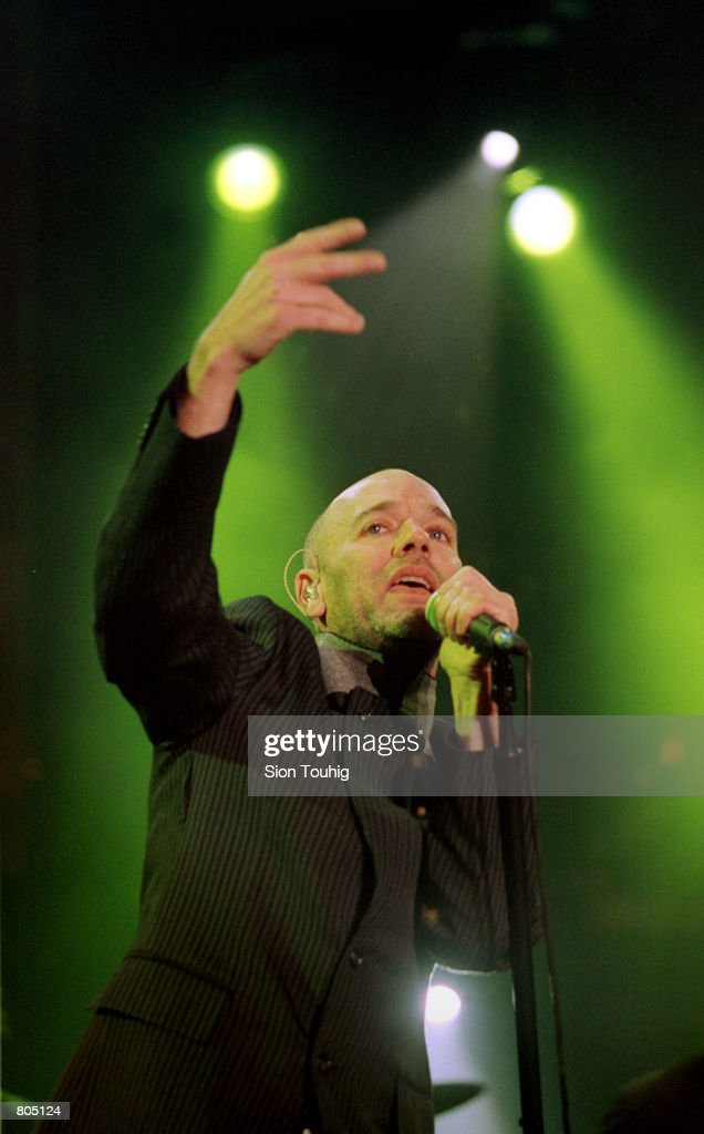Singer Michael Stipe, lead singer of the band 'REM' performs at the Celebrate South Africa Concert April 29, 2001 in Trafalgar Square in London, England. The concert was held to celebrate 7 years of democracy in South Africa and to recognize the work of the UK founded Anti-Apartheid Movement.