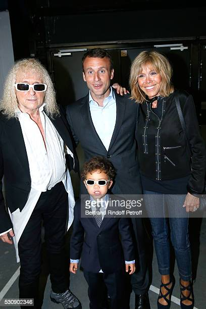 Singer Michel Polnareff his son Louka Politician Emmanuel Macron and his wife Brigitte attend Michel Polnareff performs at AccorHotels Arena Bercy...