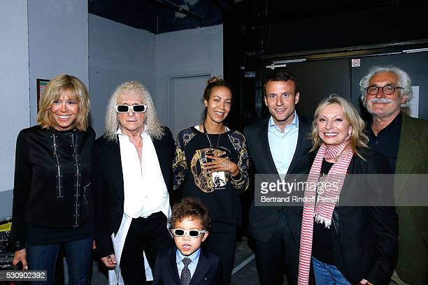 Singer Michel Polnareff his wife Danyellah their son Louka Politician Emmanuel Macron his wife Brigitte Veronique Sanson her companion Christian...