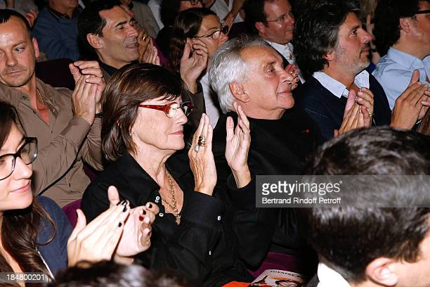 Singer Michel Sardou with his wife AnneMarie Perier attend 'The Guitrys ' performance at the Rive Gauche Theater on October 16 2013 in Paris France