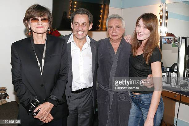 Singer Michel Sardou with his wife AnneMarie Perier Former french President Nicolas Sarkozy with his wife singer Carla Bruni backstage at Michel...