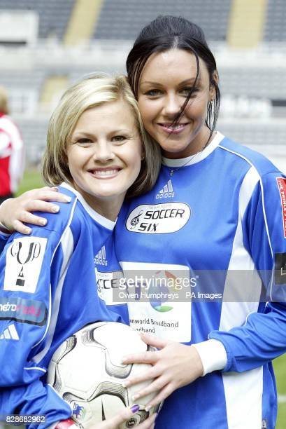 Singer Michelle Heaton from the band Liberty X with model and actress Helen Benoist during the ninth annual Music Industry Soccer Six match at St...