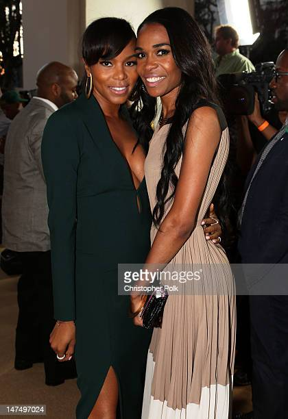Singer Michelle Williams and LeToya Luckett arrive at Debra Lee's PreBET Awards Celebration during the 2012 BET Awards at Union Station on June 30...