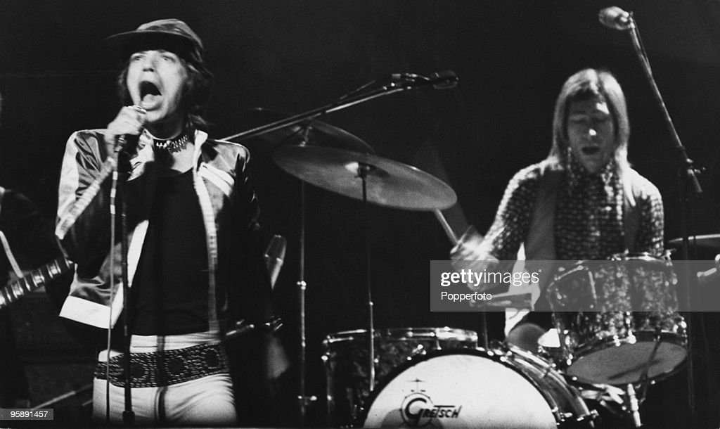 Singer Mick Jagger and drummer Charlie Watts performing with The Rolling Stones at the Empire Theatre, Liverpool, 12th March 1971.