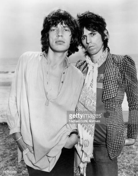 Singer Mick Jagger and guitarist Keith Richards of the rock and roll band 'The Rolling Stones' pose for a portrait in circa 1975