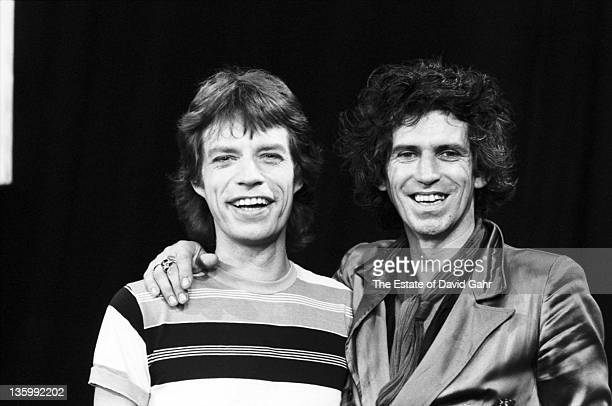 Singer Mick Jagger and guitarist Keith Richards of The Rolling Stones pose for a portrait during a rehearsal at SIR Studios on June 30 1981 in New...