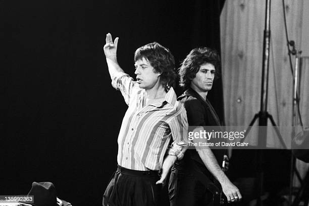 Singer Mick Jagger and guitarist Keith Richards of The Rolling Stones during a rehearsal at SIR Studios on June 30 1981 in New York City New York
