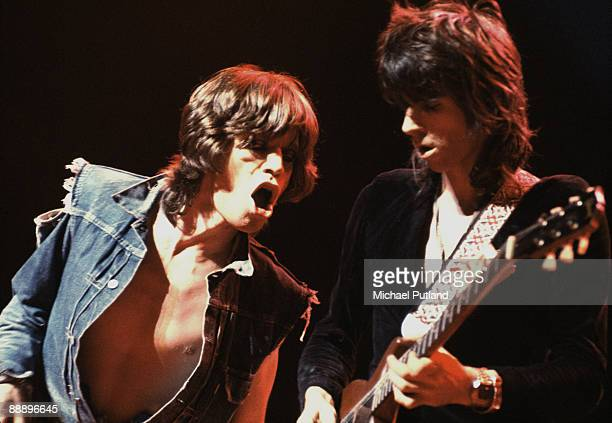 Singer Mick Jagger and guitarist Keith Richards performing on the Rolling Stones UK tour 1973