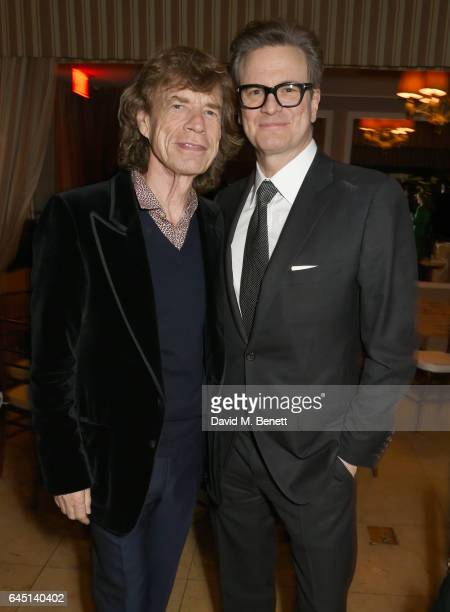 Singer Mick Jagger and host Colin Firth attend a dinner to celebrate The GCC and The Journey To Sustainable Luxury on February 24 2017 in Los Angeles...