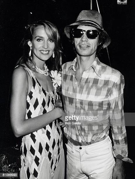 Singer Mick Jagger and model Jerry Hall attending 'Birthday Party for Jerri Hall' on July 5 1981 at the Xenon Disco in New York City New York