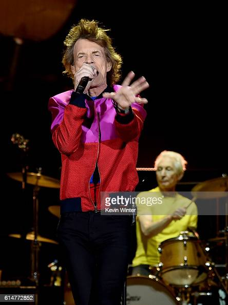 Singer Mick Jagger and musician Charlie Watts of The Rolling Stones perform during Desert Trip at the Empire Polo Field on October 14 2016 in Indio...