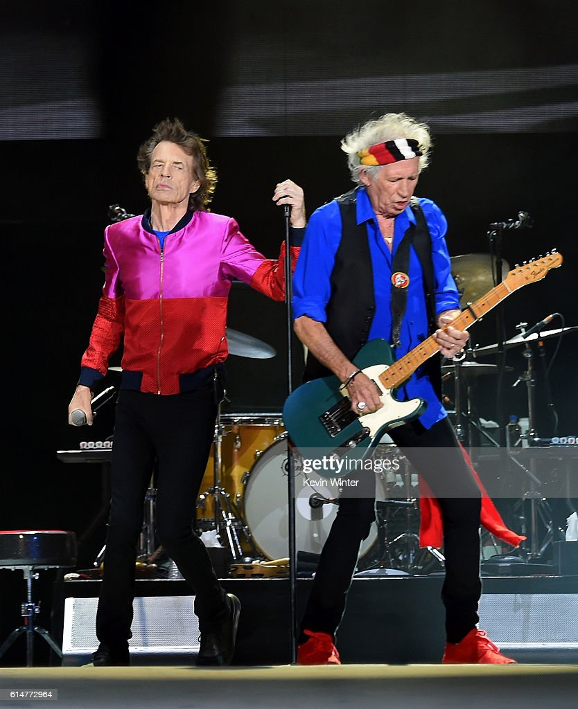 Singer Mick Jagger and musician Keith Richards of The Rolling Stones perform during Desert Trip at the Empire Polo Field on October 14, 2016 in Indio, California.