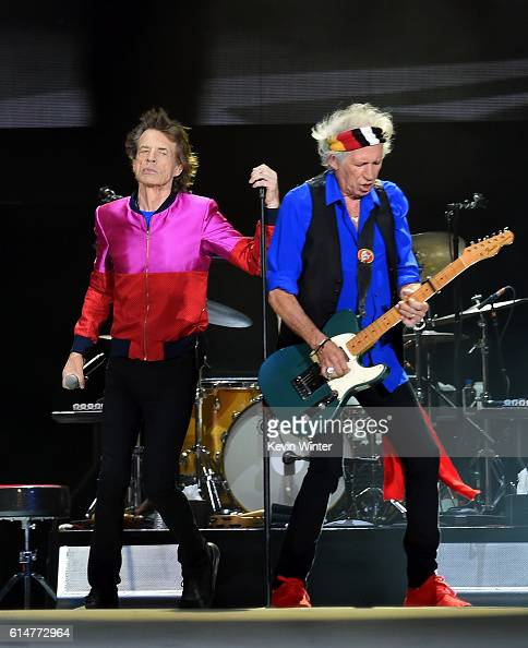 Singer Mick Jagger and musician Keith Richards of The Rolling Stones perform during Desert Trip at the Empire Polo Field on October 14 2016 in Indio...