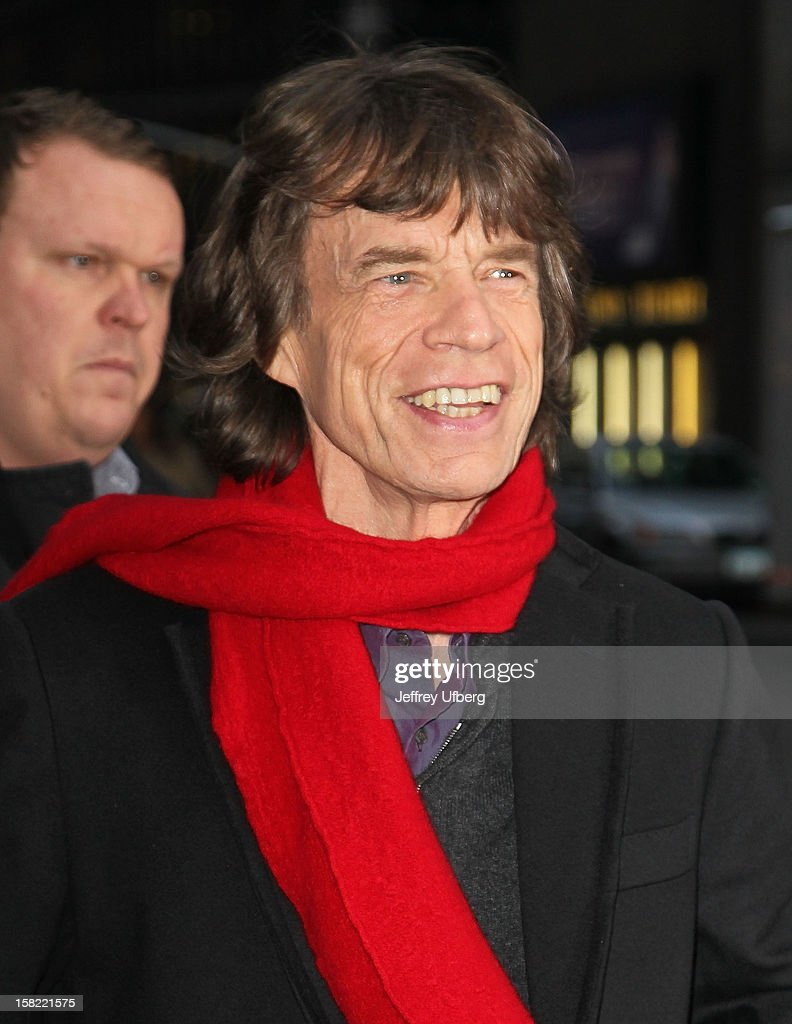Singer <a gi-track='captionPersonalityLinkClicked' href=/galleries/search?phrase=Mick+Jagger&family=editorial&specificpeople=201786 ng-click='$event.stopPropagation()'>Mick Jagger</a> arrives to 'Late Show with David Letterman' at Ed Sullivan Theater on December 11, 2012 in New York City.